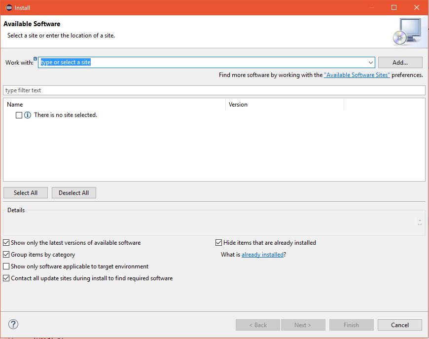 Eclipse'in Software Install penceresi. Eclipse'in harici eklentileri buradan kuruluyor.